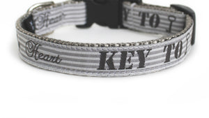 The Key to My Heart Dog Collar in light gray with petite gray and light gray stripes and the text, Key to My Heart.
