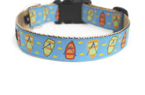 Back side of the Lake Life Dog Collar showing the pattern repeating along the collar
