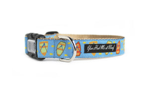 Lake Life Dog Collar with water, row boats and fish