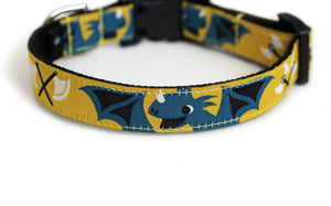 Little Viking Dog Collar in yellow with blue dragons, boy and girl vikings, and axes