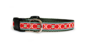 The front of the Lucky Dog Collar, displaying the pattern repeating itself along the length of the collar.