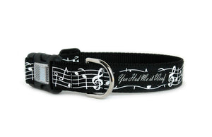 Music Notes Dog Collar in all black with white music notes