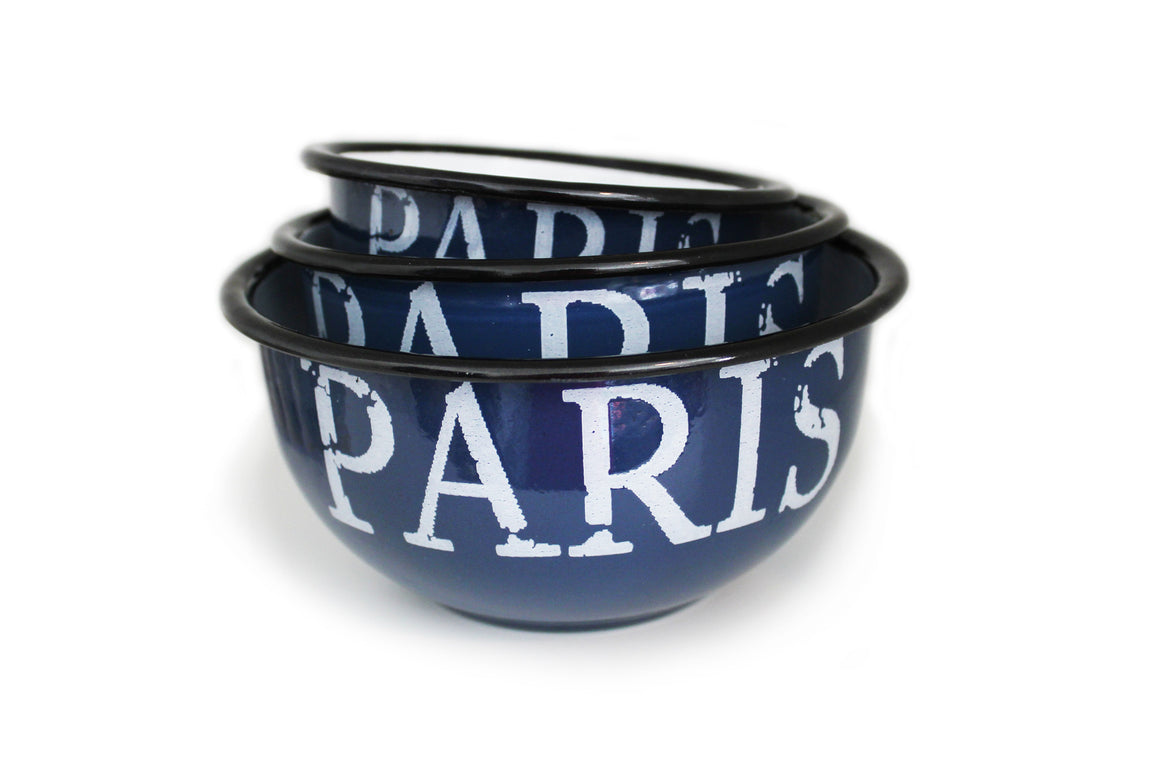 Paris Enamelware Dog Bowl
