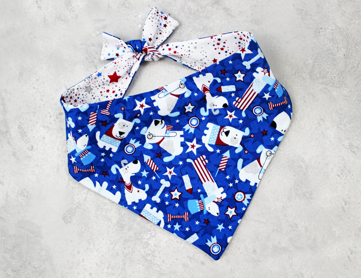 Patriotic Dogs Bandana, Tie-on