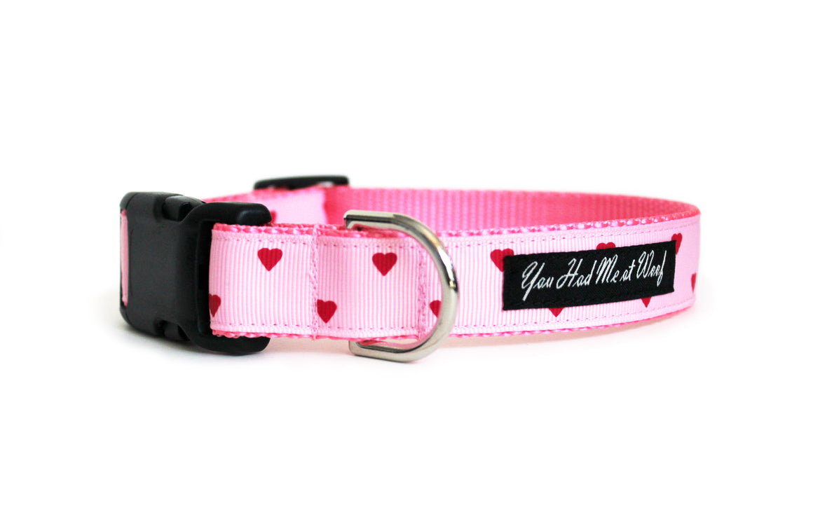 Be My Valentine Dog Collar- Light Pink