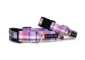 The Plaid Fall Dog Collar in Lavender in soothing lavender, gray, and orange hues.