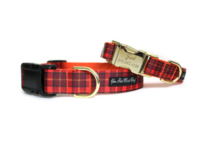 The Plaid Fall Dog Collar in Orange in warm colors of orange, brown, and yellow..