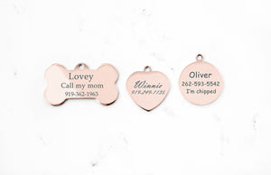 Rose Gold Engraved Dog ID Tag, Stainless Steel, Mirror Finish