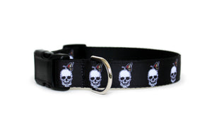 Skull Dog Collar in all black with white skulls and a colorful butterfly sitting on each skull