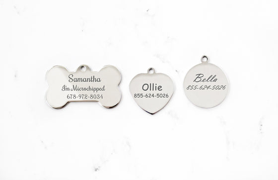 Stainless Steel Engraved Dog ID Tag, Silver Mirror Finish