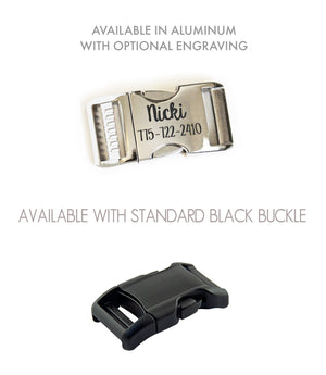 Buckle options shown include a standard black buckle or polished aluminum buckle with optional laser engraving