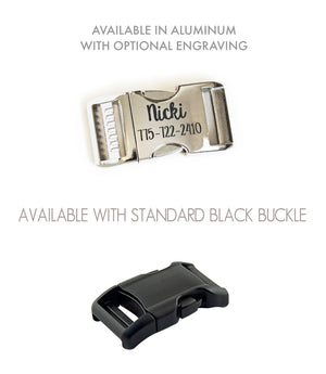 Collar buckle options shown include a standard black buckle or polished aluminum buckle with optional laser engraving