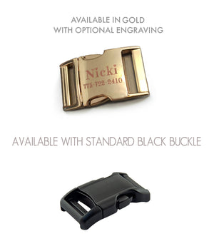 Buckle options include a standard black buckle or polished gold buckle with optional laser engraving.