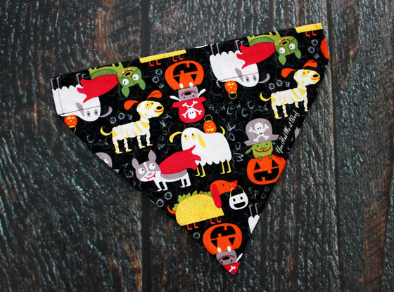 Trick or Treat Dogs Bandana, Over the Collar