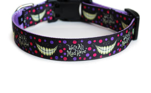 Back side of the We're All Mad Here Dog Collar, showing the pattern repeating along the dog collar