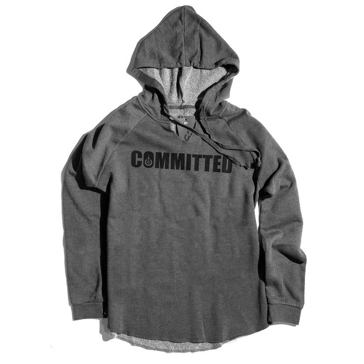 COMMITTED WOMENS V-NECK HOODIE