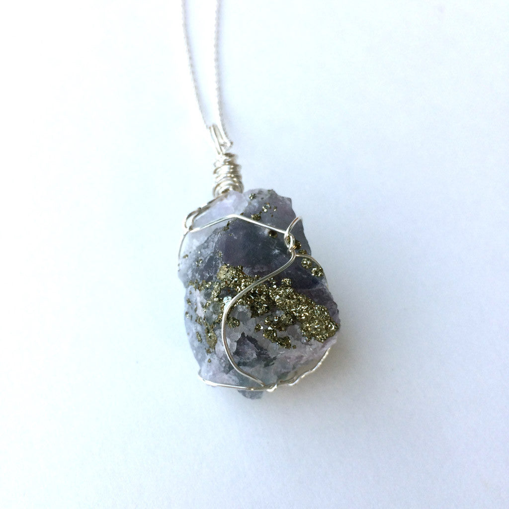 FLUORITE / PYRITE / CALCITE STERLING SILVER NECKLACE