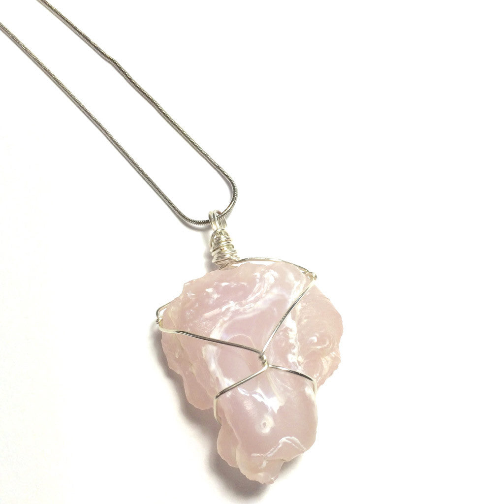 Pink Desert Rose Sterling Silver Necklace