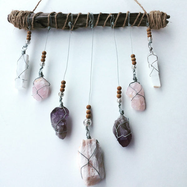 Crystal Mobile:  Gypsum, Rose Quartz, Amethyst, Selenite