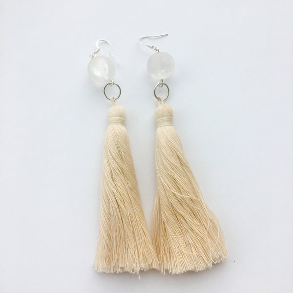 Quartz Tassel Shoulder Duster Earrings