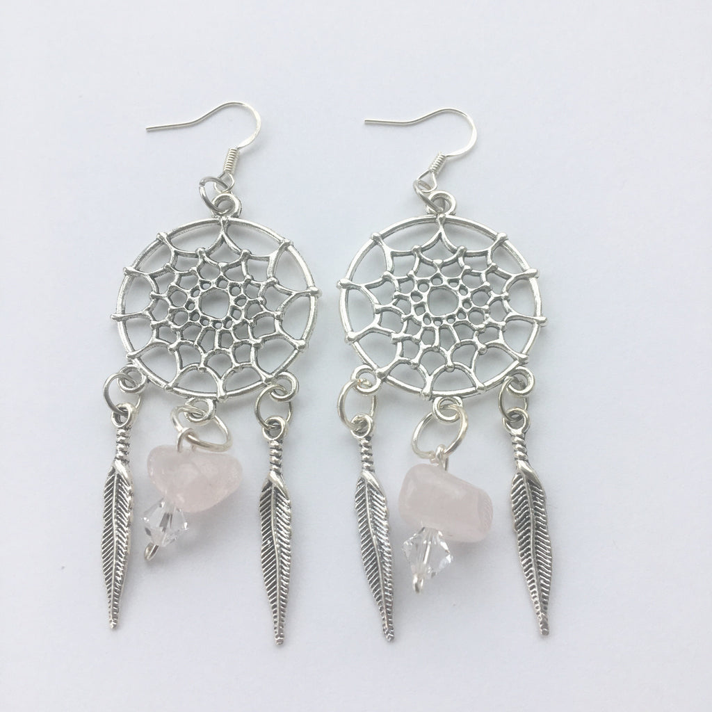 Rose Quartz Dreamcatcher Earrings