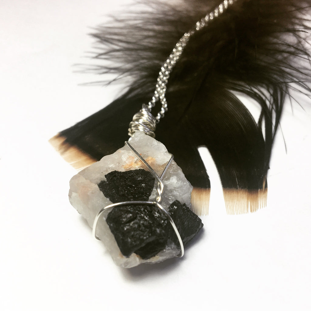 Tourmaline in Quartz Sterling Necklace