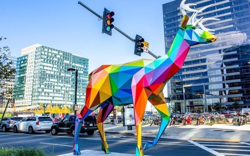 New Sculpture Series Splashes Boston's Seaport With Color