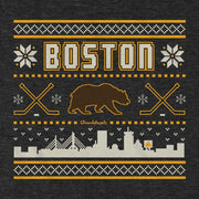Boston Black & Gold Holiday Sweater T-Shirt - Chowdaheadz