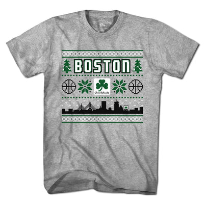 Boston Shamrock Ugly Sweater T-Shirt - Chowdaheadz