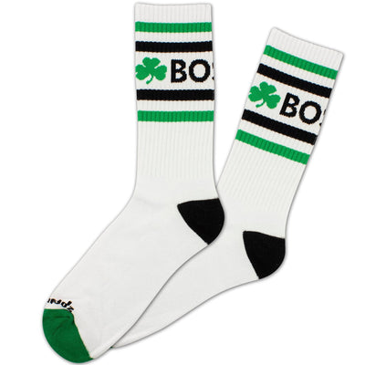 Boston Shamrock Old School Crew Socks - WHITE - Chowdaheadz