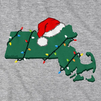 Santa Hat Massachusetts T-Shirt - Chowdaheadz
