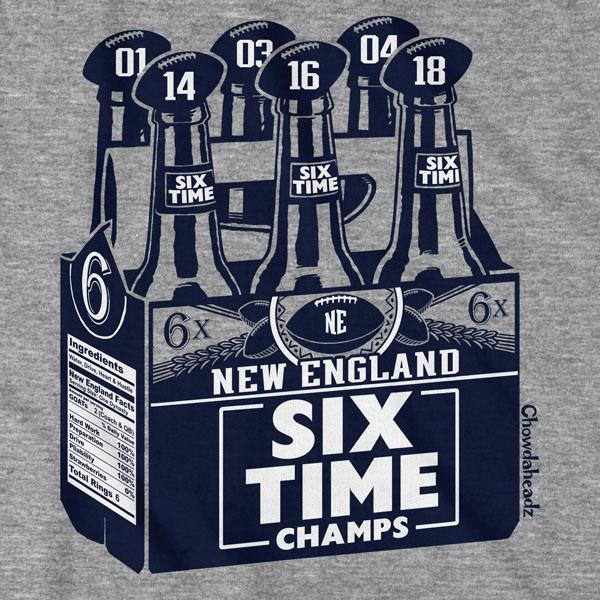 New England Six Pack T-Shirt - Chowdaheadz