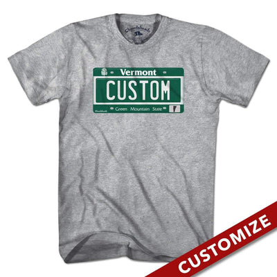 Custom Vermont License Plate T-Shirt - Chowdaheadz