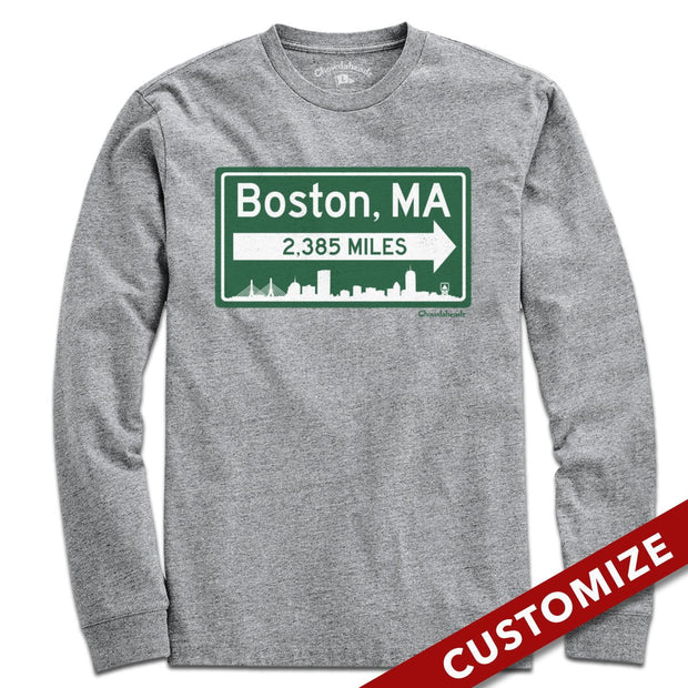Custom Miles to Boston Sign T-Shirt - Chowdaheadz