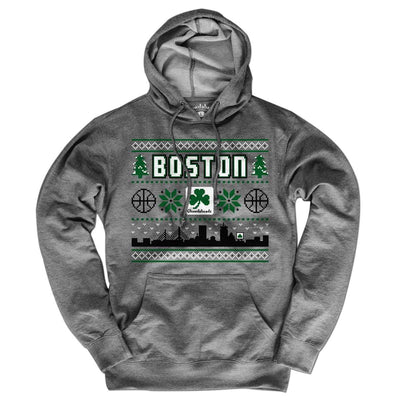 Boston Shamrock Ugly Sweater Lightweight Hoodie - Chowdaheadz