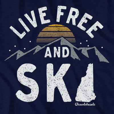 Live Free and Ski New Hampshire T-Shirt - Chowdaheadz