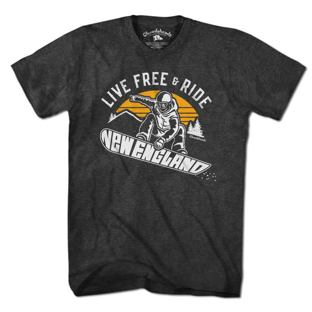Live Free & Ride New England Snowboarder T-Shirt 1