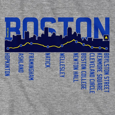 Boston Skyline Run Route T-Shirt - Chowdaheadz