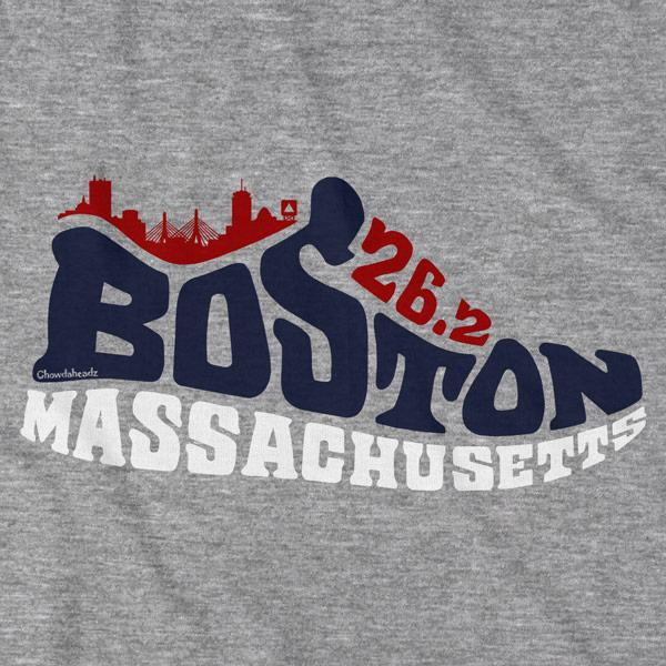 Boston Mass 26.2 Sneaker T-Shirt - Chowdaheadz