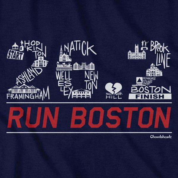 26.2 Run Boston Race Icons T-Shirt - Chowdaheadz