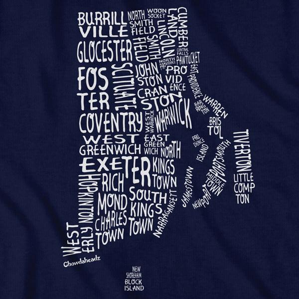 Rhode Island Cities & Towns T-Shirt - Chowdaheadz