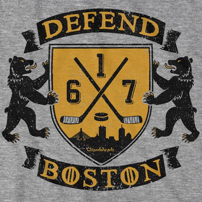 Defend Boston Hockey Shield T-Shirt - Chowdaheadz