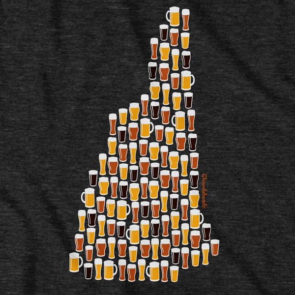 New Hampshire Beer Glasses T-Shirt - Chowdaheadz