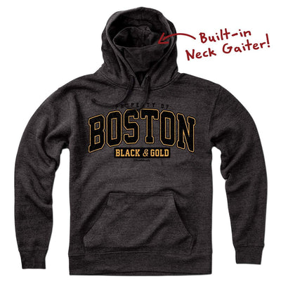 Property Of Boston Black & Gold Neck Gaiter Hoodie - Chowdaheadz