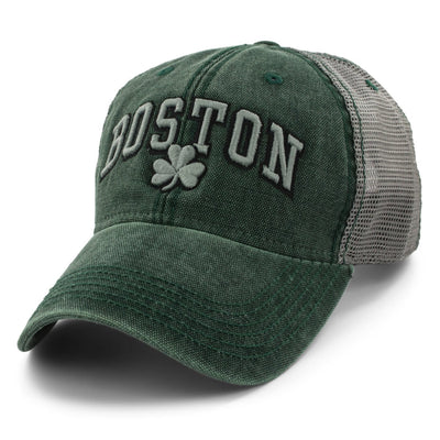 "Boston Shamrock ""Cobblestone"" Mesh Trucker Green Hat - Chowdaheadz"
