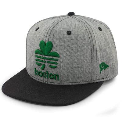 "Boston Retro Shamrock ""Pavement"" Snapback Hat - Chowdaheadz"