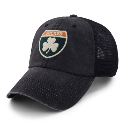 "Wicked Irish Sign ""Cobblestone Trucker"" Mesh Hat - Black - Chowdaheadz"