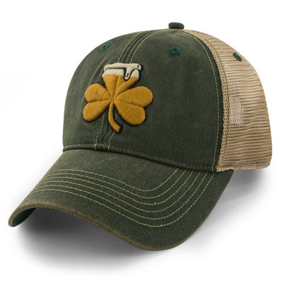 Shamrock Beer Dirty Water Trucker Hat - Dark Green - Chowdaheadz
