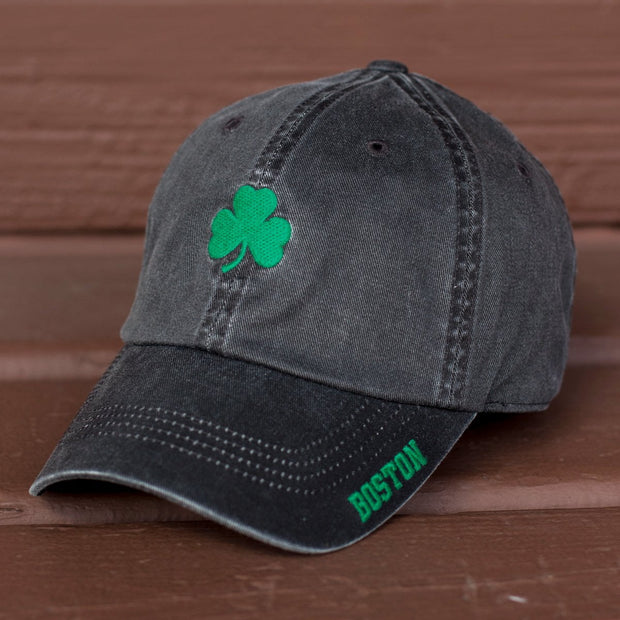 "Mini Boston Shamrock ""Ballpahk"" Adjustable Hat - Vintage Black - Chowdaheadz"