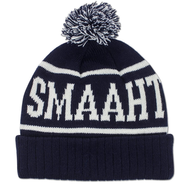 Wicked Smaaht Old School Knit Winter Hat - Navy - Chowdaheadz